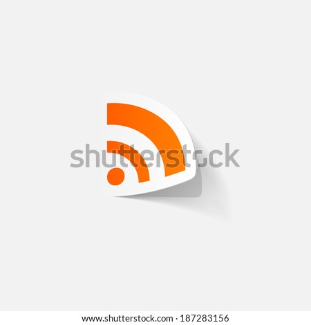 Paper clipped sticker: Wireless Network Symbol. Isolated illustration icon - stock vector
