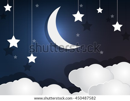 Paper cloud crescent moon and stars in the night sky