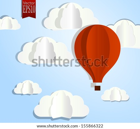 Paper clouds and balloon on a blue background. Eps10 - stock vector