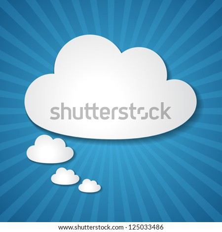 Paper clouds background. - stock vector