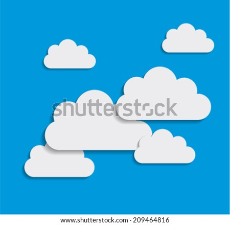 Paper Clouds Background - stock vector