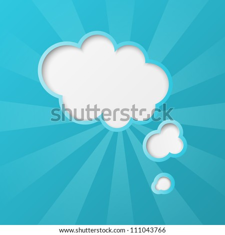 Paper clouds background with sun rays - stock vector