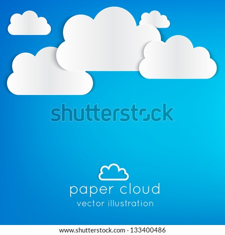 Paper clouds illustrated background on blue. Can be used as icon, sign, element for web design or business presentations. - stock vector
