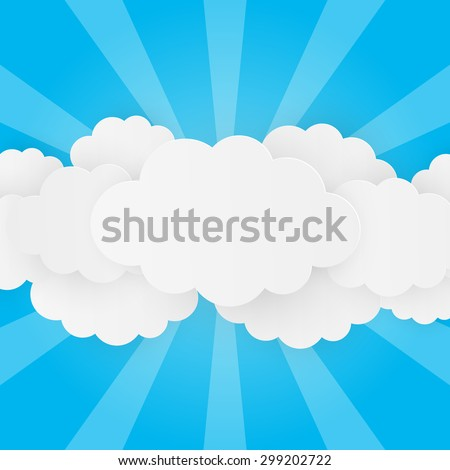 Paper clouds on blue background - stock vector