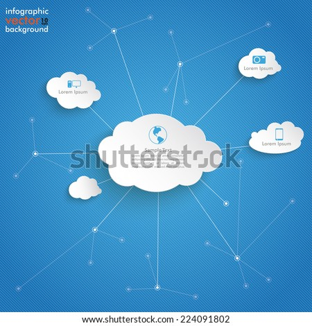 Paper clouds with networks on the blue background. Eps 10 vector file. - stock vector