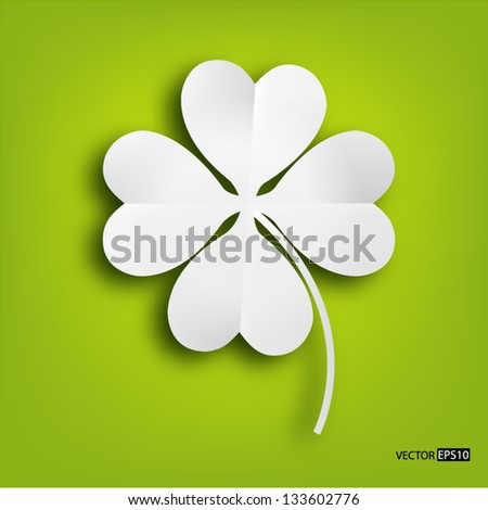 Paper clover leaf on green background. - stock vector