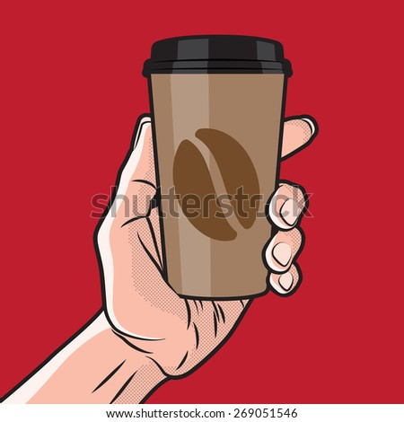 Paper Coffee Cup in Hand - stock vector