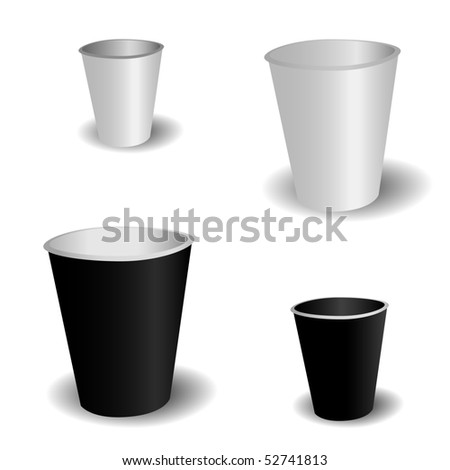 Paper coffee cup set. Vector illustration