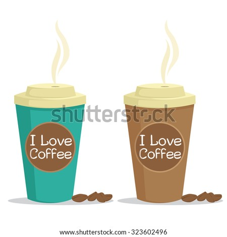 Paper Coffee Cup With Coffee Beans And I Love Coffee Text - stock vector