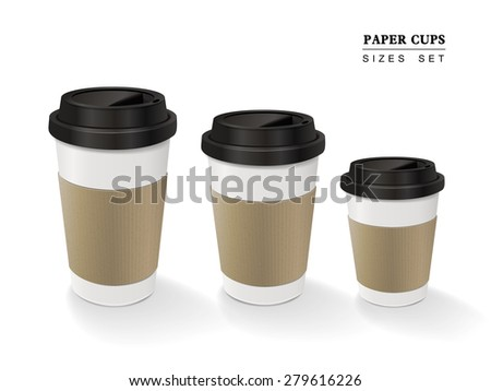 paper coffee cups set isolated on white background - stock vector