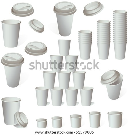 Paper coffee ice cream cup set isolated on white vector - stock vector