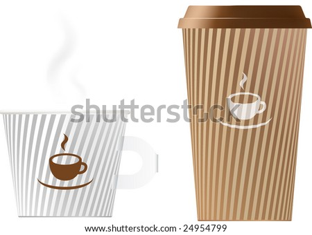 Paper coffee/tea cups in different sizes (contains gradient mesh elements!). - stock vector