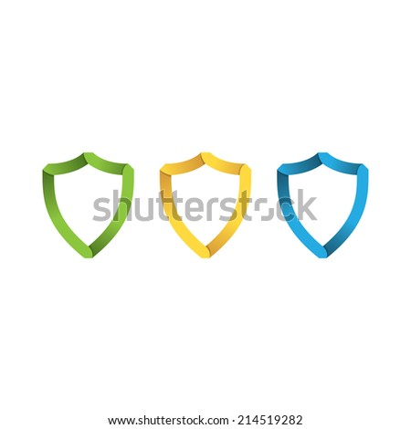 paper colored shields in the style of origami. vector eps10 - stock vector