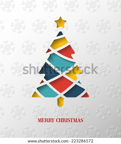 Paper colorful Christmas tree. Vector Illustration. - stock vector