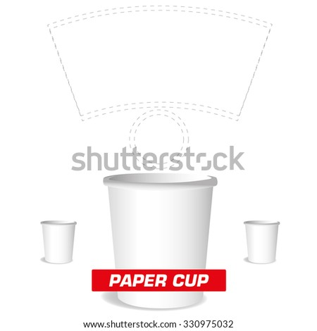 paper cup, cutting - stock vector