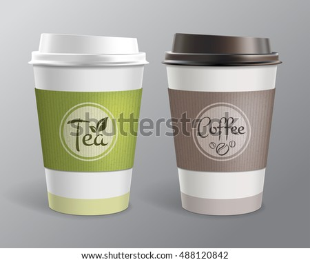 Paper cup for tea and coffee. Volume Vector