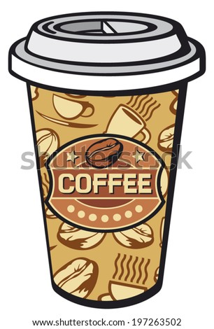 paper cup of coffee (take-out coffee, coffee in takeaway cup) - stock vector