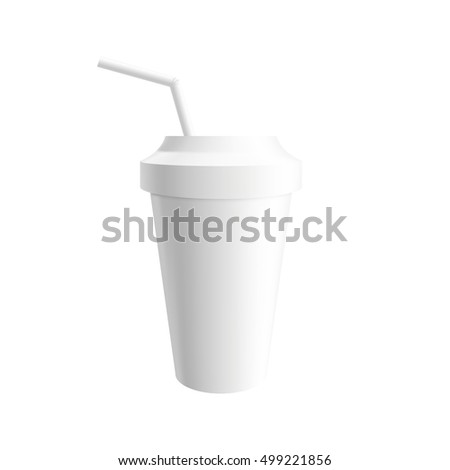 paper cup with drink straw