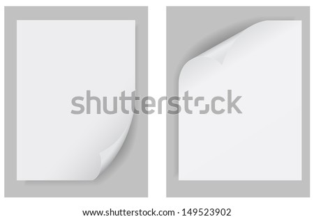 paper curled up template - stock vector