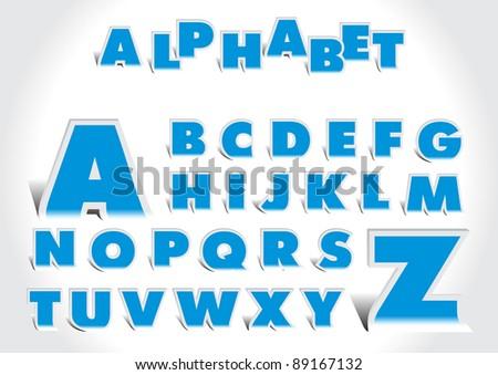 Paper cut alphabet - stock vector