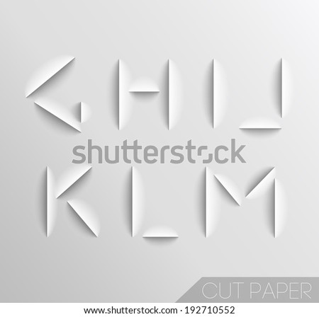 Paper cut alphabet set. Typographic sign with shadow. - stock vector