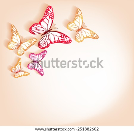 Paper Cut Butterflies Background Isolated for Spring. Editable Vector Illustration - stock vector
