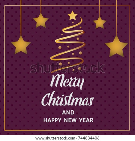 Paper cut concept : Merry Christmas and Happy New Year greeting card with gold Christmas tree and stars. Vector illustration design.