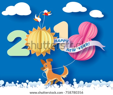 Paper cut design and craft winter landscape with birds, dog and digit 2018. Holiday New year and Merry Christmas card. Vector illustration
