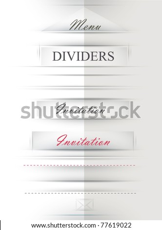 Paper Cut Dividers and paper pockets.Transparent-fit any background - stock vector
