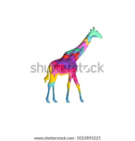 Paper Cut Giraffe Safari Animals Shape 3D Origami Trendy Concept Fashion Design Vector