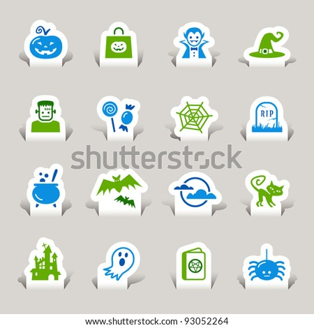 Paper Cut - Halloween Icons - stock vector
