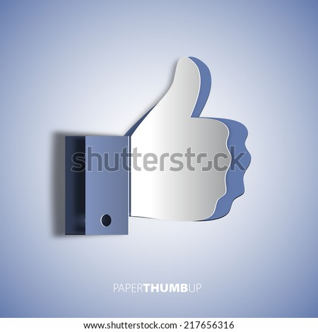 Paper cut icon social networks, like us Icon, vector illustration - stock vector
