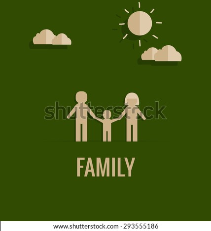 Paper cut of family. Vector illustration. - stock vector