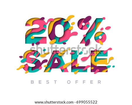 Paper cut sale 20 percent off. 20% discount 3d sign isolated on white background. Vector illustration. Sale symbol concept, special offer label, sticker tag, banner, advertising badge