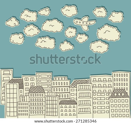 paper cutout doodle of a city with clouds and an airplane above - stock vector