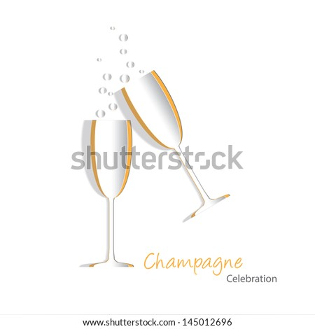 Paper cutouts of champagne glasses with bubbles. EPS10 vector format with blends, transparencies and simple gradients. - stock vector