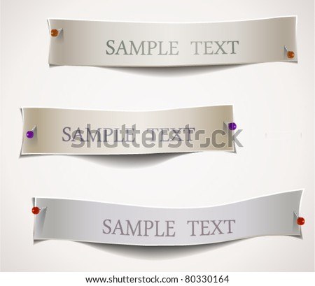 Paper Cuts with Pins,  Works when papers are on colored background. EPS 10. - stock vector