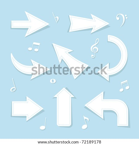Paper Cutting arrows - stock vector