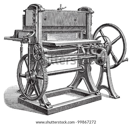 Paper cutting machine / vintage illustration from Meyers Konversations-Lexikon 1897 - stock vector
