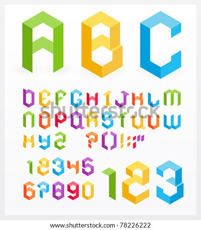 Paper 3D alphabet letters and numbers - stock vector