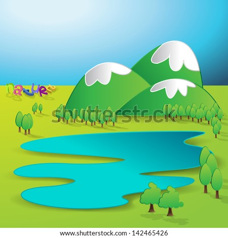 Paper 3D Green Field And Blue Sky Background - Vector Illustration, Graphic Design Useful For Your Design - stock vector
