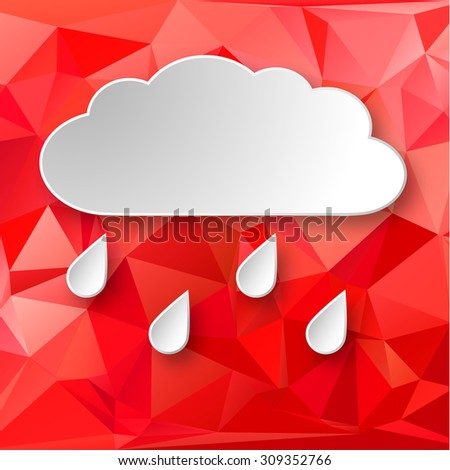 Paper 3d raining cloud over red abstract geometric background.