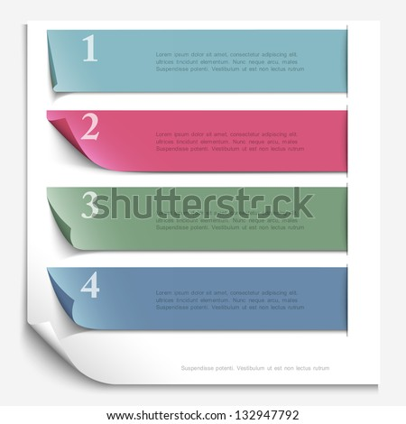 Paper design template for numbered paper banners,website layout. Vector EPS10 - stock vector