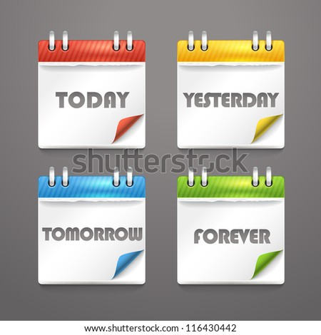 Paper diary icons with bended color corners - stock vector
