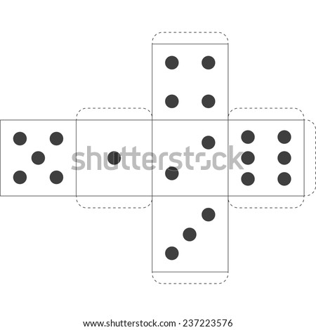 Paper Dice Template, Vector - stock vector