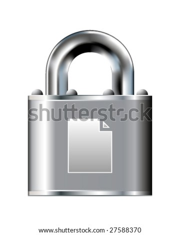 Paper document icon on stainless steel padlock vector button