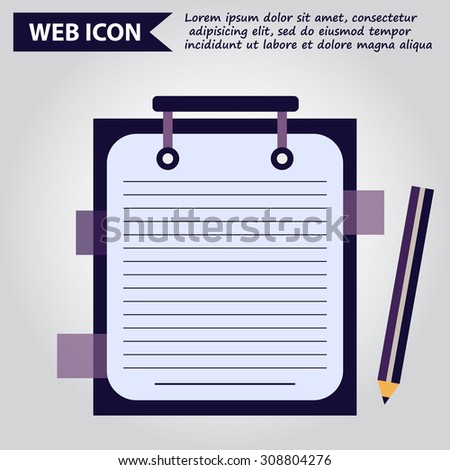 paper document with pencil web icon, vector.
