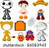 Paper Doll boy with costumes for Halloween Party - stock vector
