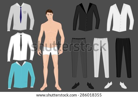 Paper Doll Man Template Groom Vector Stock Vector 286018355 ...