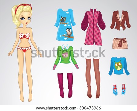 Paper doll of a young beautiful blonde girl and clothes for her - stock vector